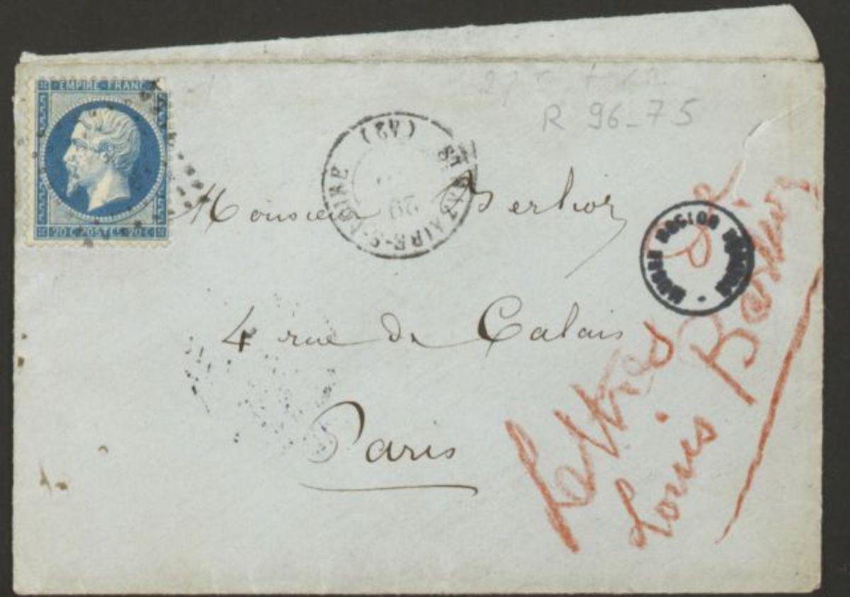 Enveloppe d'une lettre adressée à Hector Berlioz Manuscrit 1862
