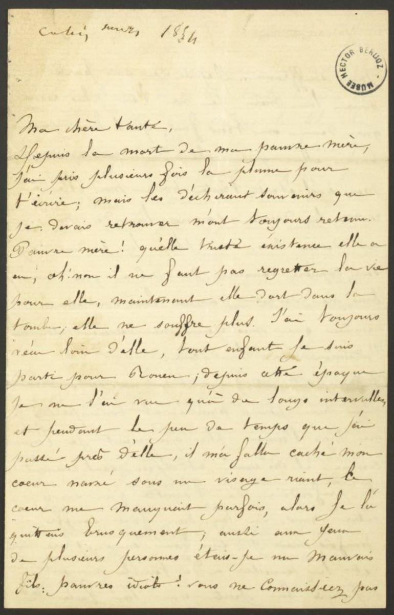 Lettre de Louis Berlioz à Adèle Suat Berlioz Manuscrit 1854