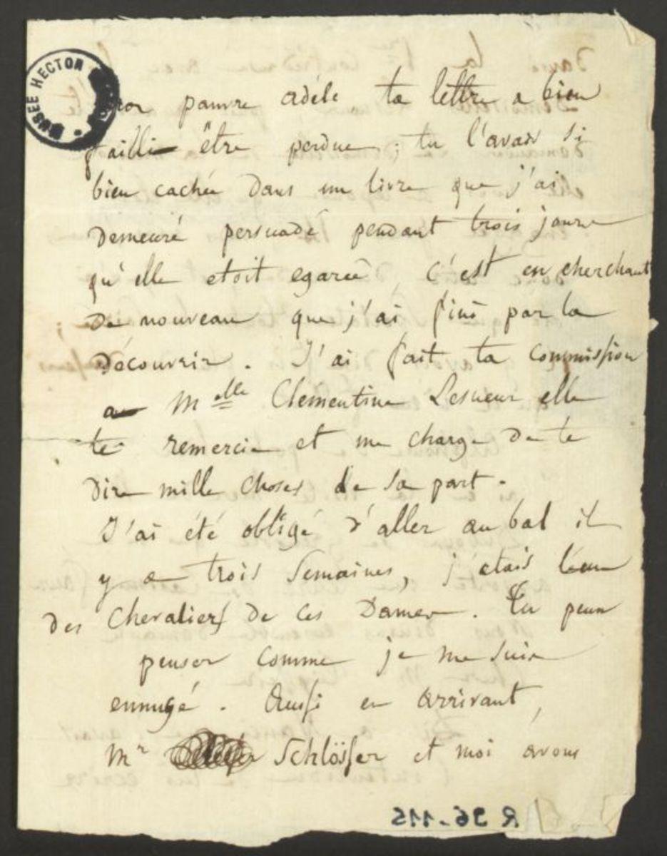 Lettre d'Hector Berlioz à Adèle Suat Berlioz Manuscrit 1822 - 1823