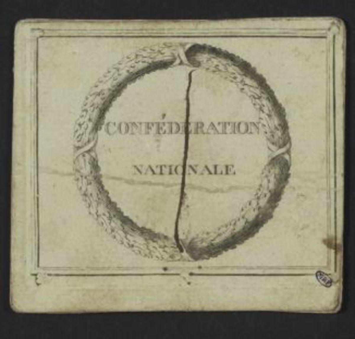 Carte d'entrée à la Confédération Nationale au nom de M.Ferrand, député du département de la Vienne, district de Londuy Estampe