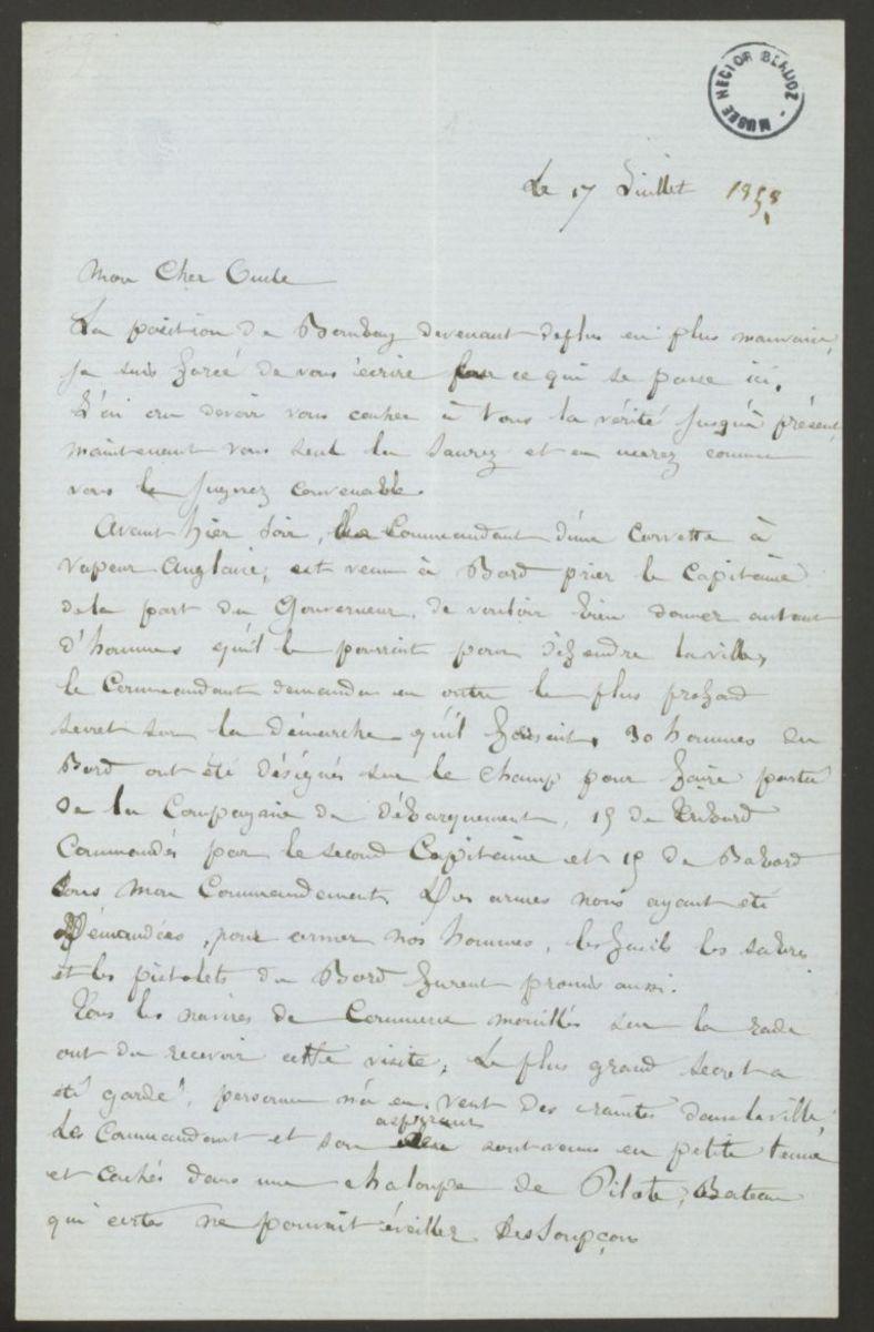 Lettre de Louis Berlioz à Marc Suat Manuscrit 1858