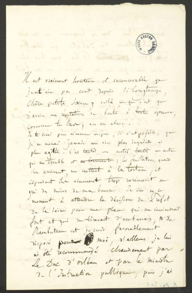 Lettre d'Hector Berlioz à Adèle Suat Berlioz Manuscrit 1842