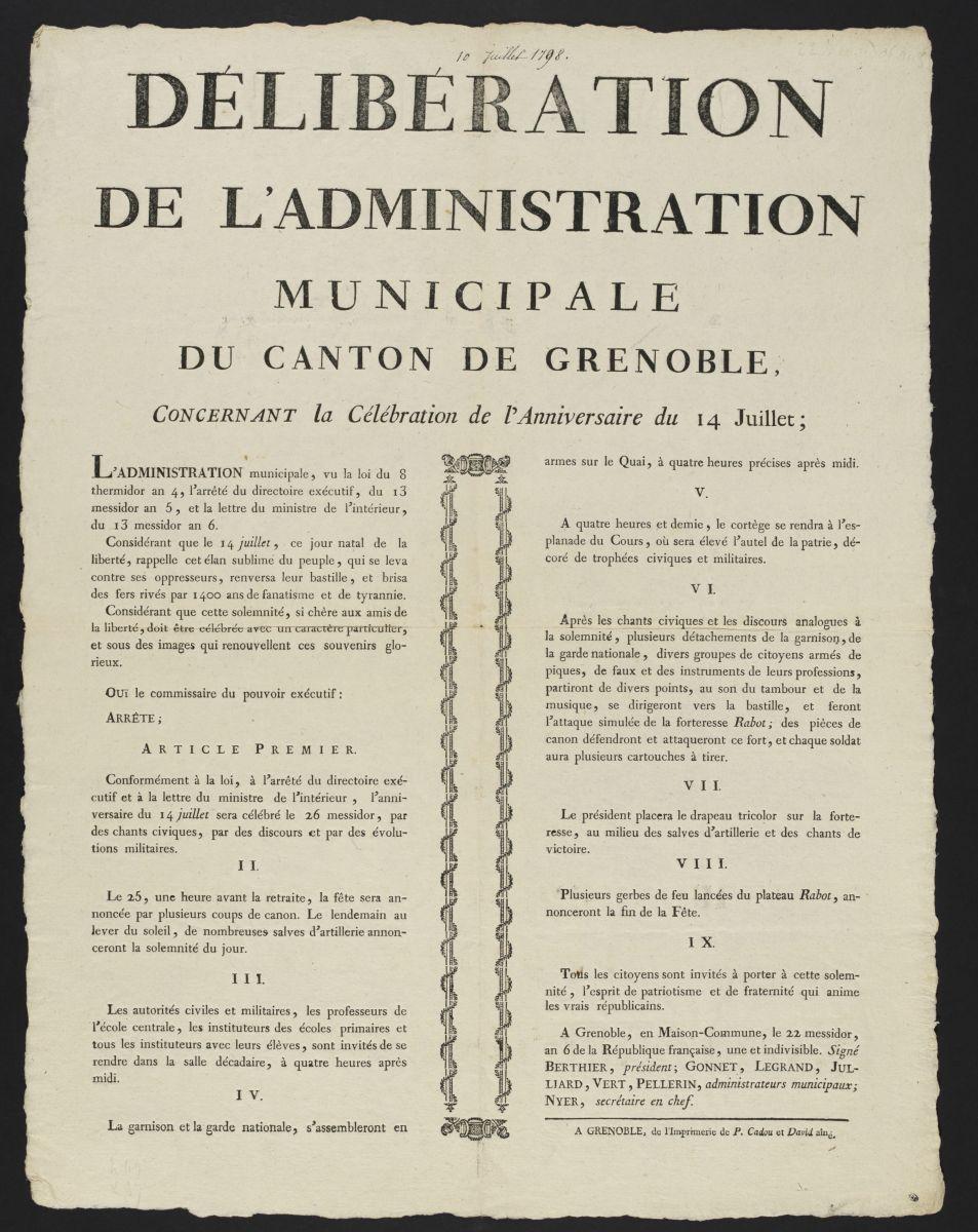 Délibération de l'administration municipale du canton de Grenoble concernant la célébration de l'anniversaire du 14 Juillet, le 22 messidor, an 6 de la République française, une et indivisible Estampe