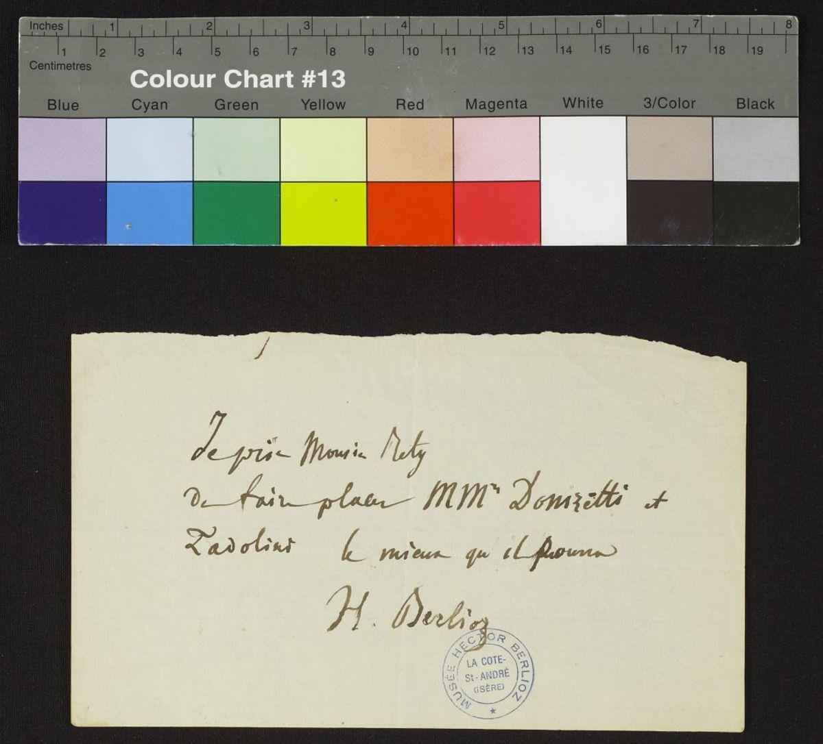 Lettre d'Hector Berlioz à Rety Manuscrit