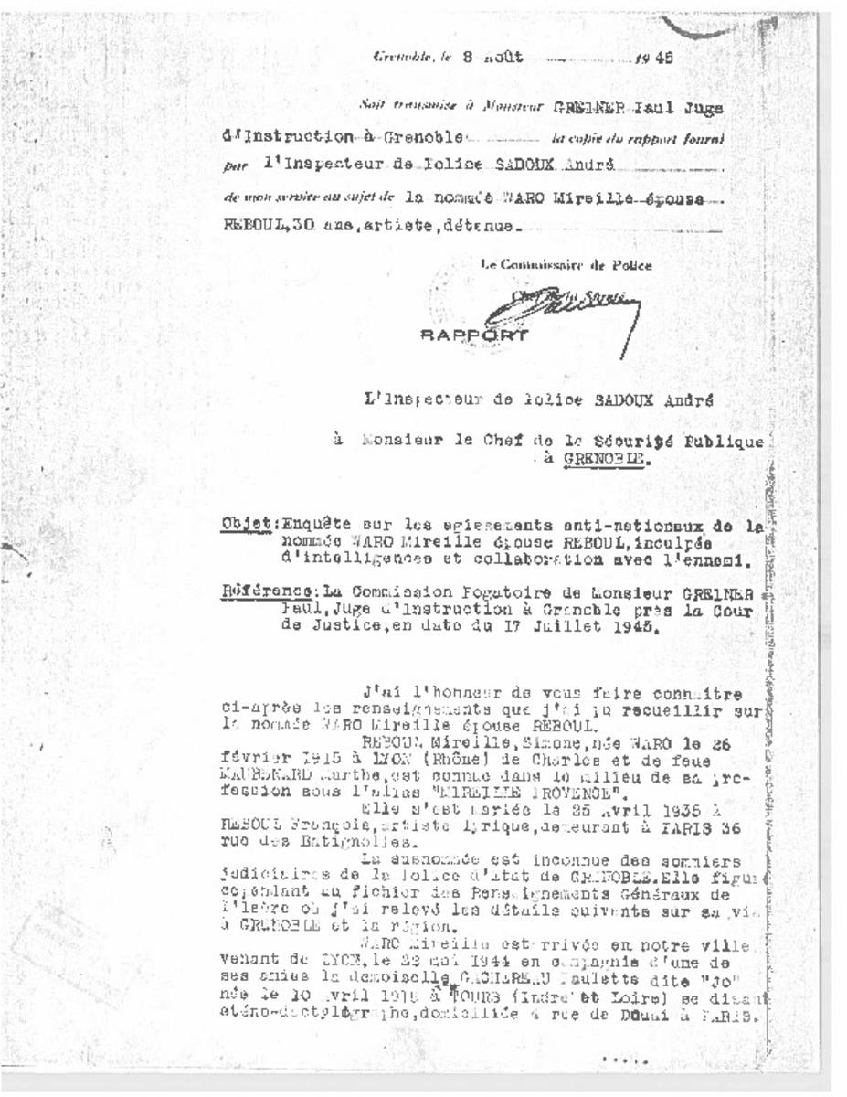 """Simone Waro """"Mireille Provence"""" Archive 1945"""