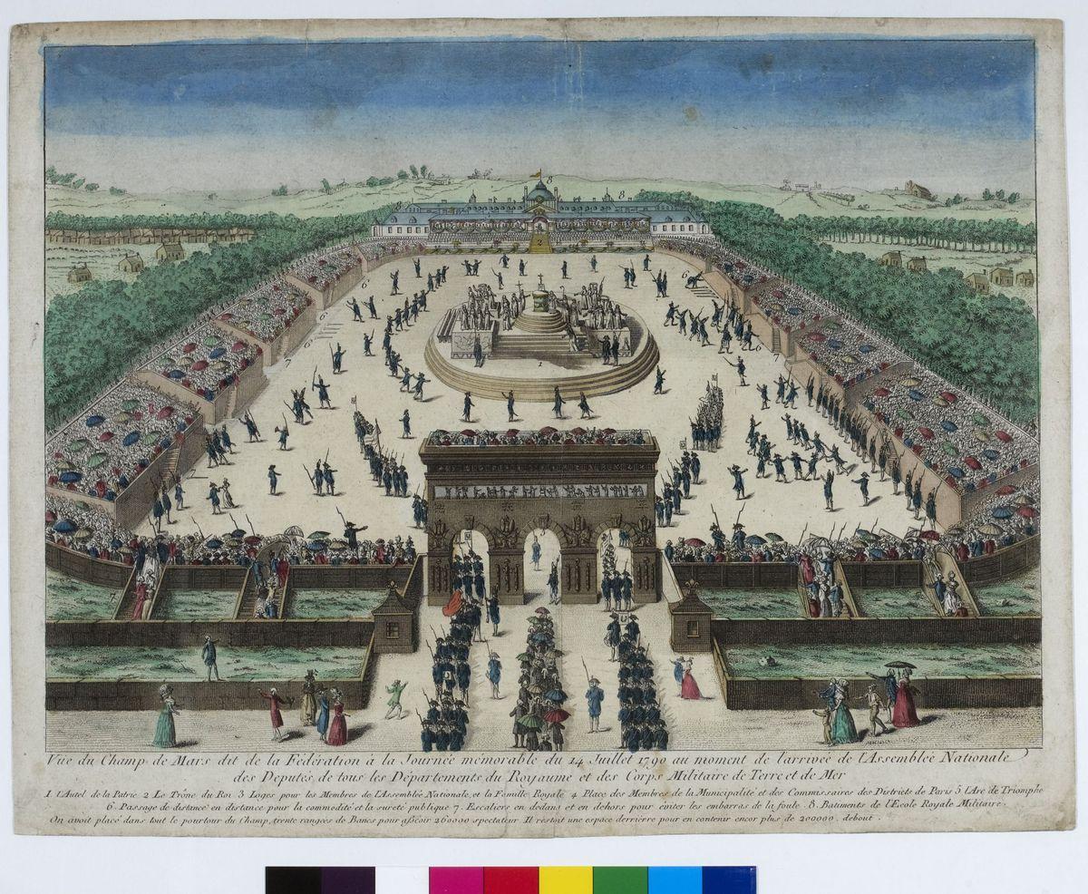 Vue du Champ de Mars dit de la Fédération à la journée mémorable du 14 juillet 1790 Arts graphiques