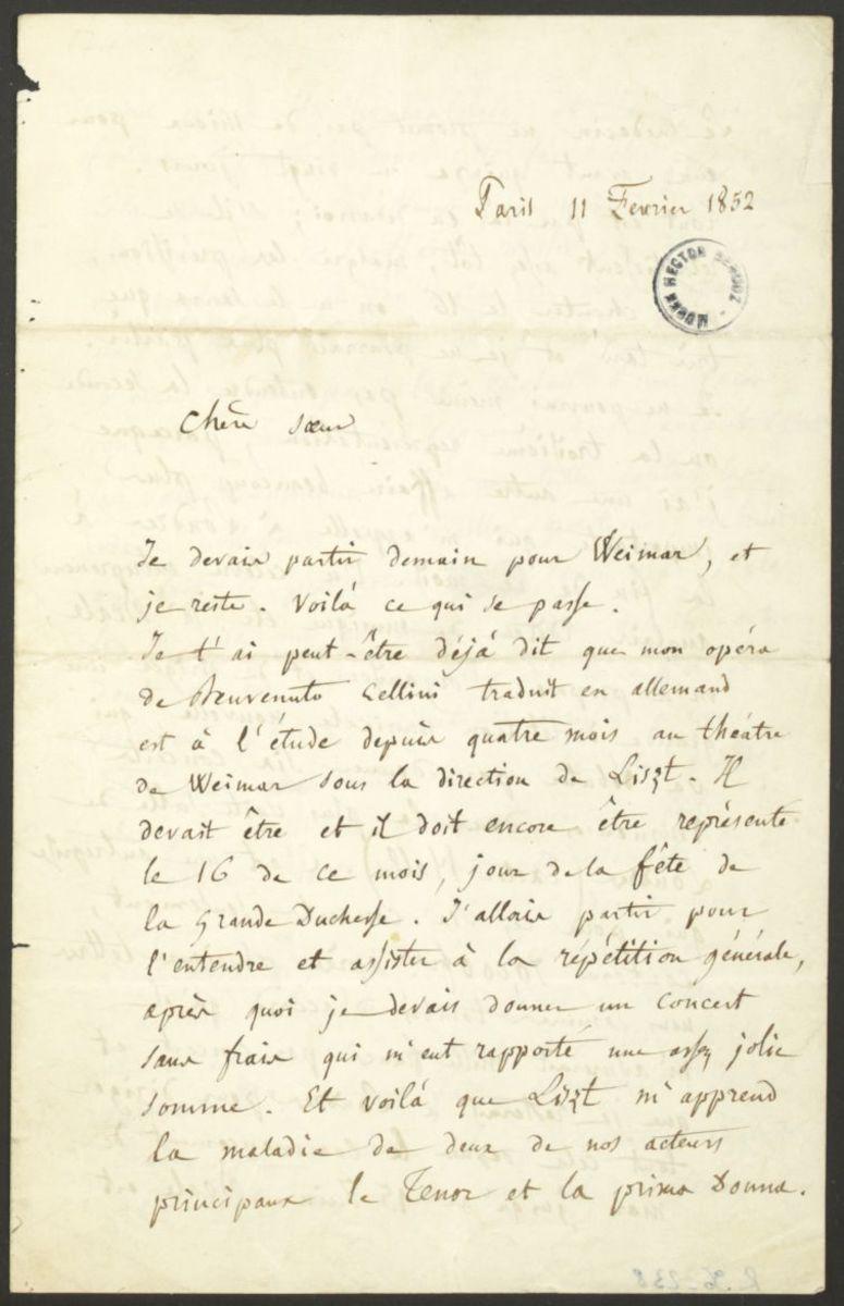 Lettre d'Hector Berlioz à Adèle Suat Berlioz Manuscrit 1852