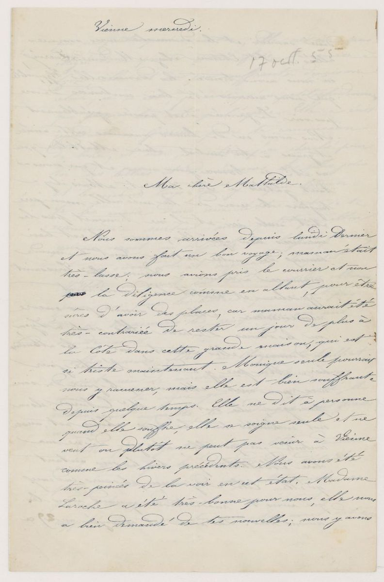 Lettre de Joséphine Suat Chapot à Mathilde Pal Masclet Manuscrit 1855