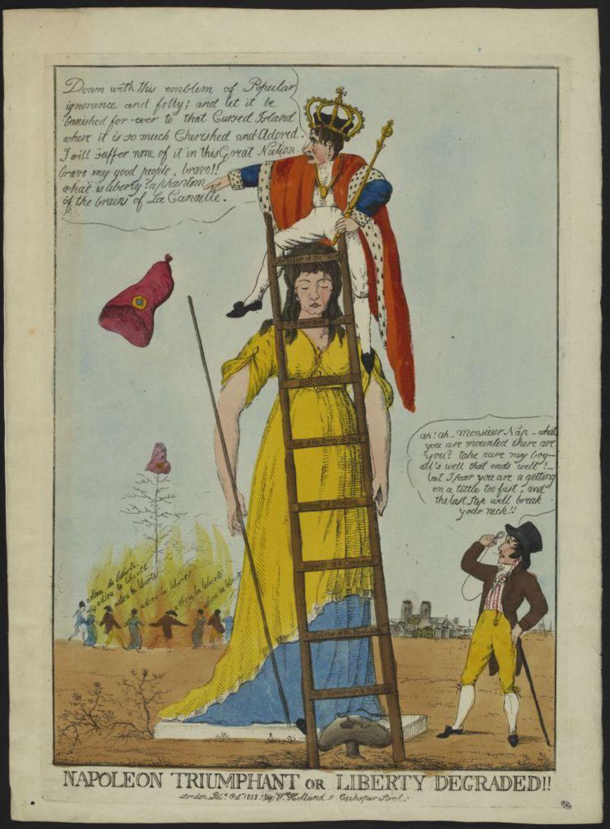 Napoleon triumphant or Liberty degraded ! Estampe