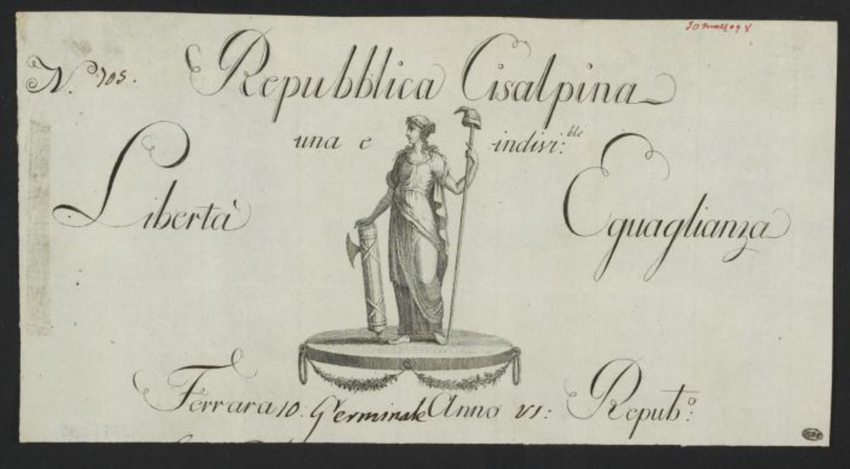 En-tête de courier officiel de la République Cisalpine, posté à Ferrare le 10 germinal an VI Estampe