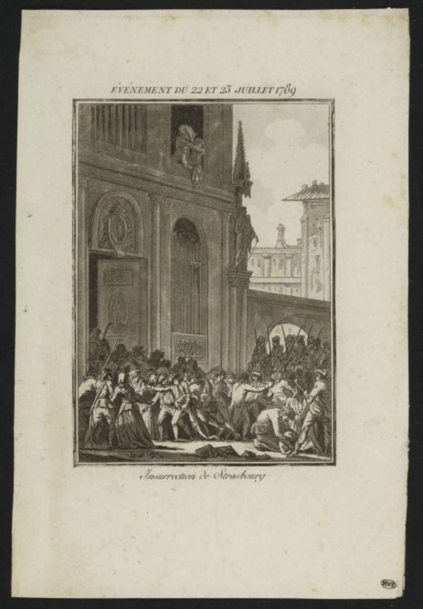 Evénement du 22 et 23 juillet 1789. Insurrection de Strabourg. Estampe
