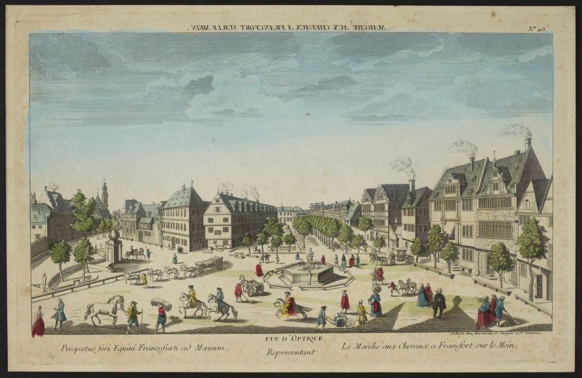 Vue d'optique représentant le marché aux Chevaux à Francfort sur le Mein Estampe