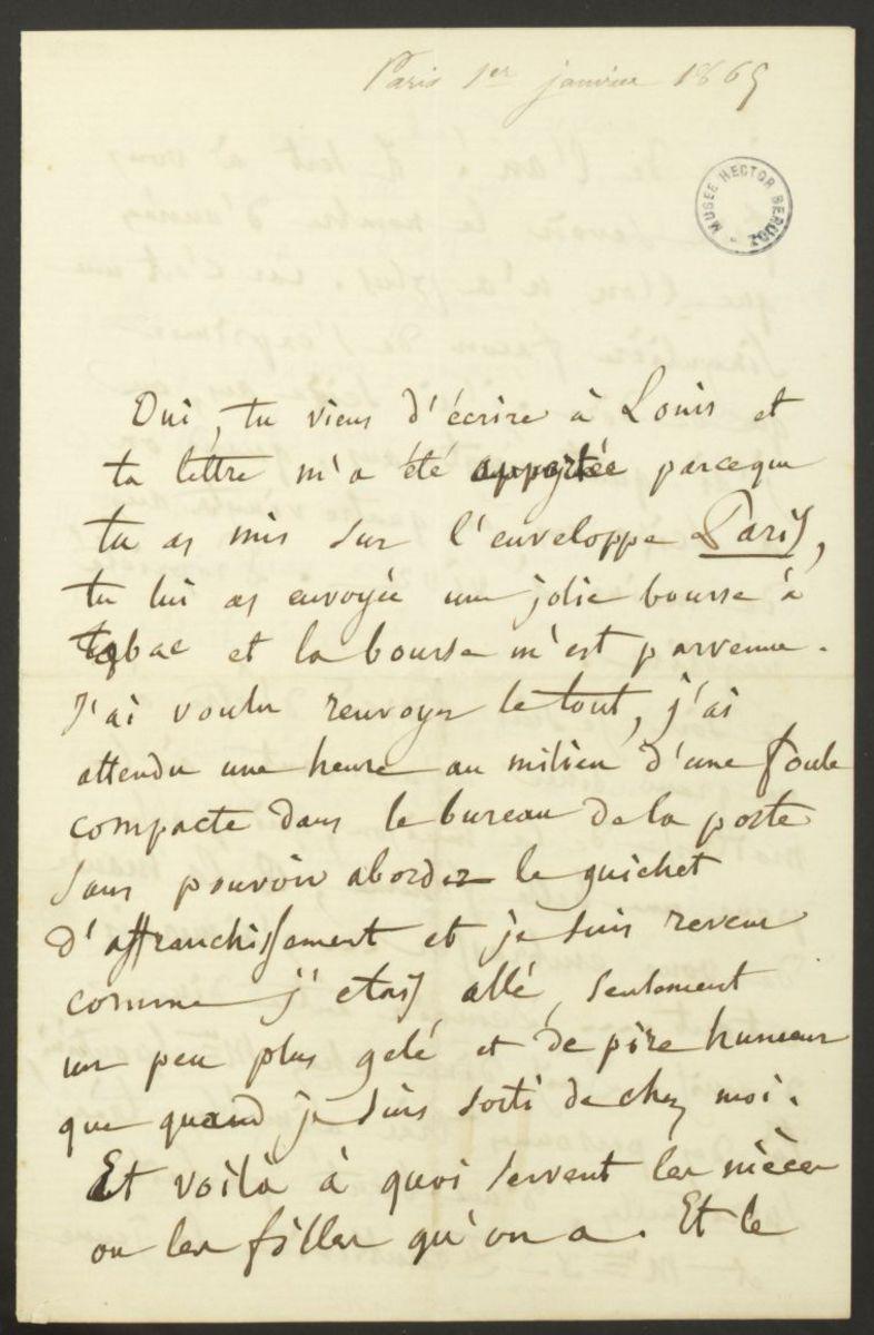 Lettre d'Hector Berlioz à Joséphine Suat Manuscrit 1865