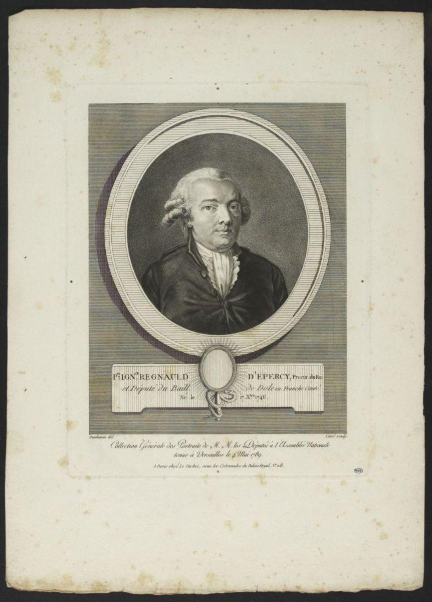 Pierre Ignace Regnaud d' Epercy, procureur du roi. Député du baillage de Dole en Franche Comté Estampe