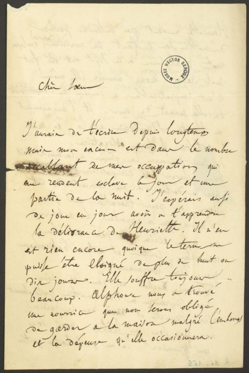 Lettre d'Hector Berlioz à Adèle Suat Berlioz Manuscrit 1834