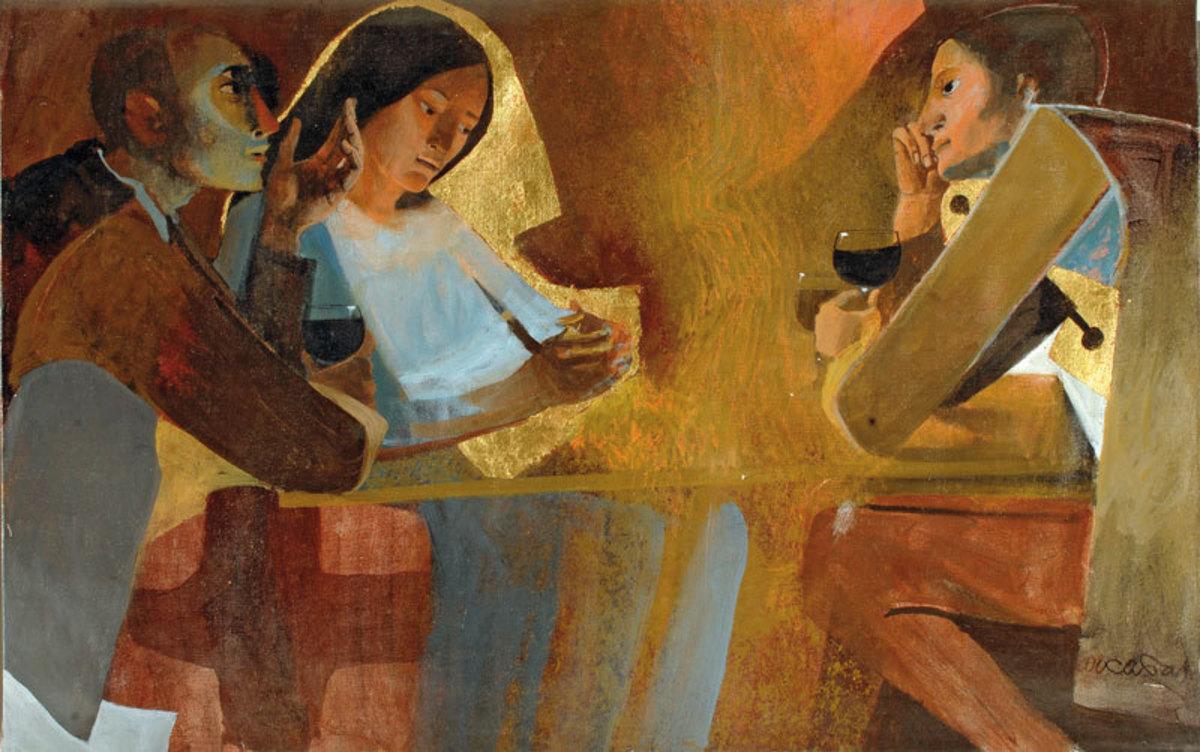 Les pèlerins d'Emmaüs Peinture 1985