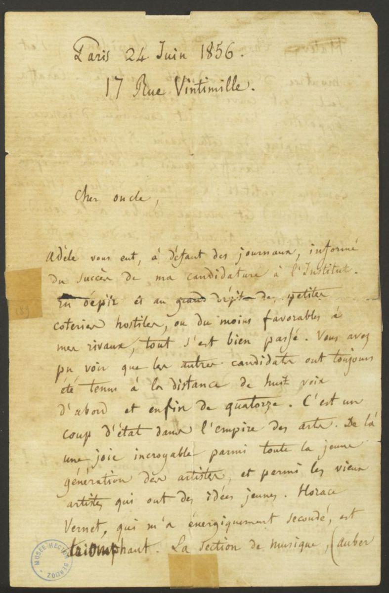 Lettre d'Hector Berlioz à Félix Marmion Manuscrit 1856