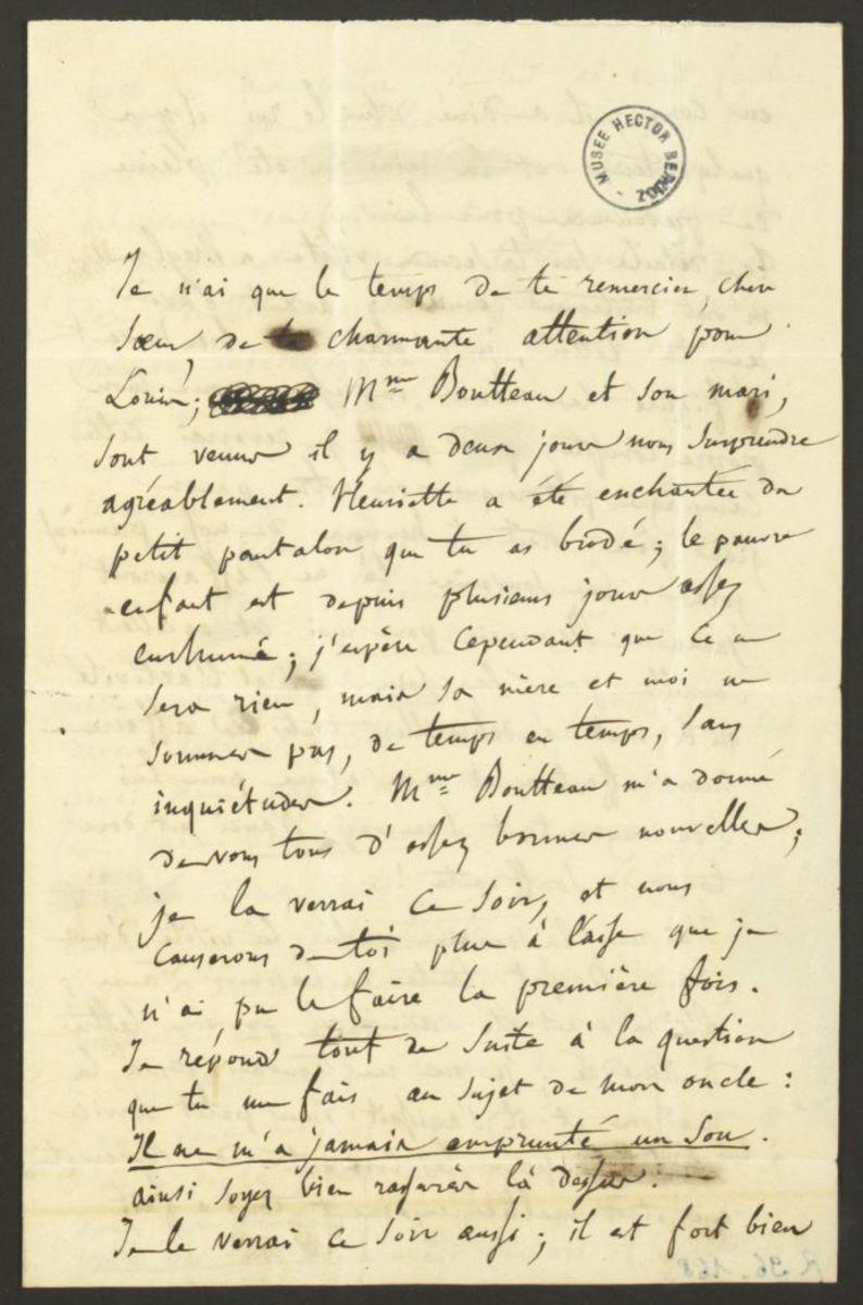 Lettre d'Hector Berlioz à Adèle Suat Berlioz Manuscrit 1837
