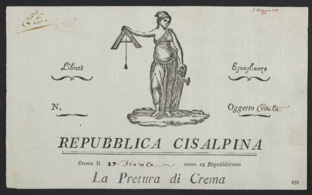 En-tête de lettre de la Pretura di Crema, Repubblica Cisalpine, Crema, le 17 Floréal an 9 Estampe