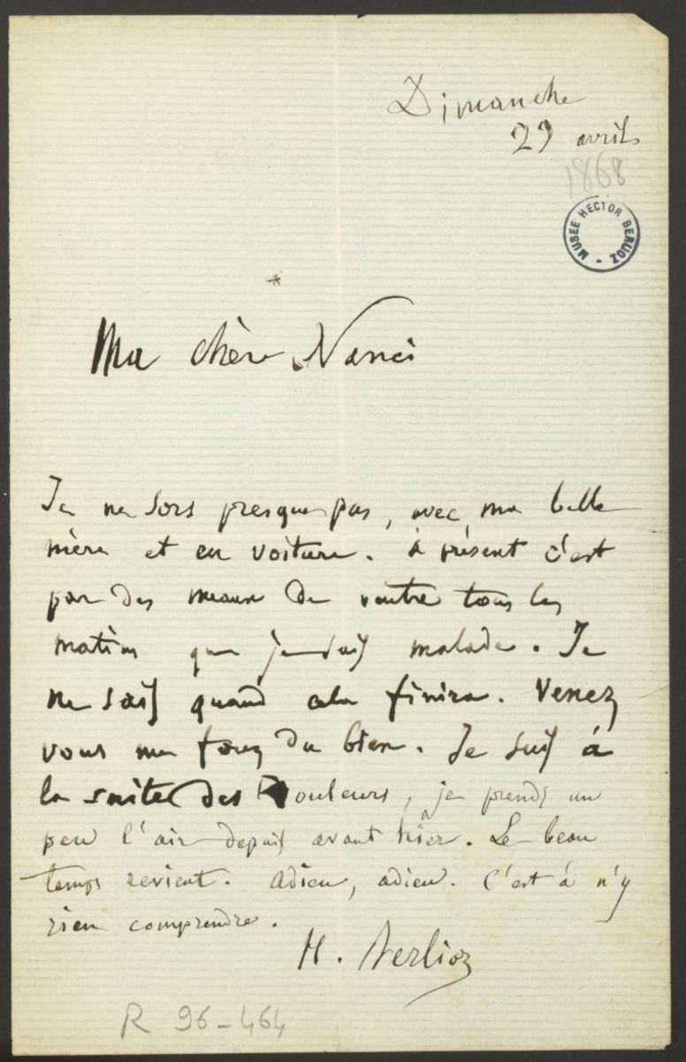Lettre d'Hector Berlioz à Nancy Suat Manuscrit 1868