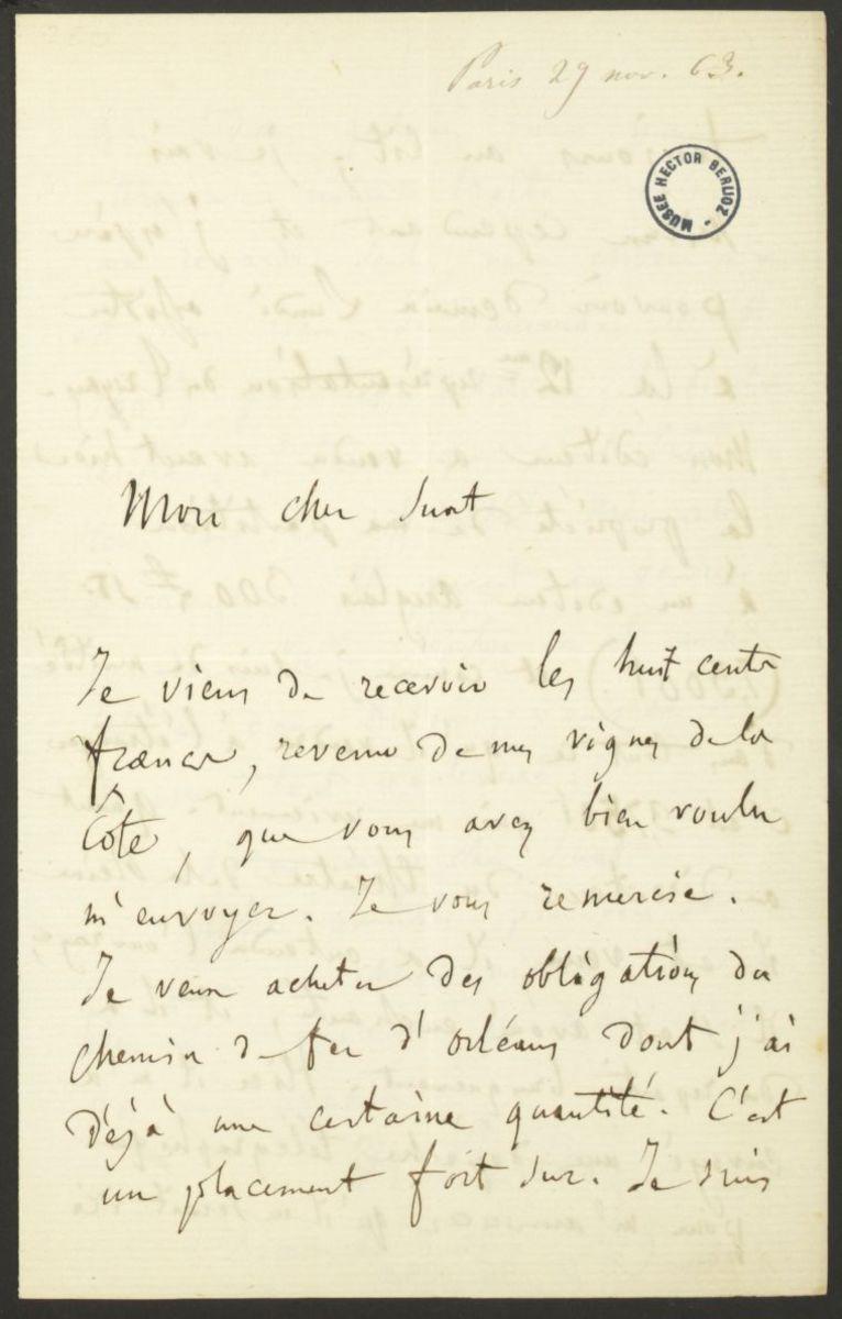 Lettre d'Hector Berlioz à Marc Suat Manuscrit 1863