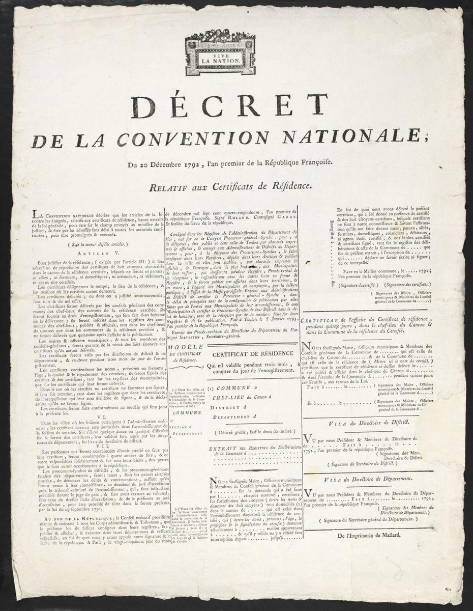 Décret de la Convention Nationale relative aux certificats de résidence, Toulon, le 6 Janvier 1793 Estampe