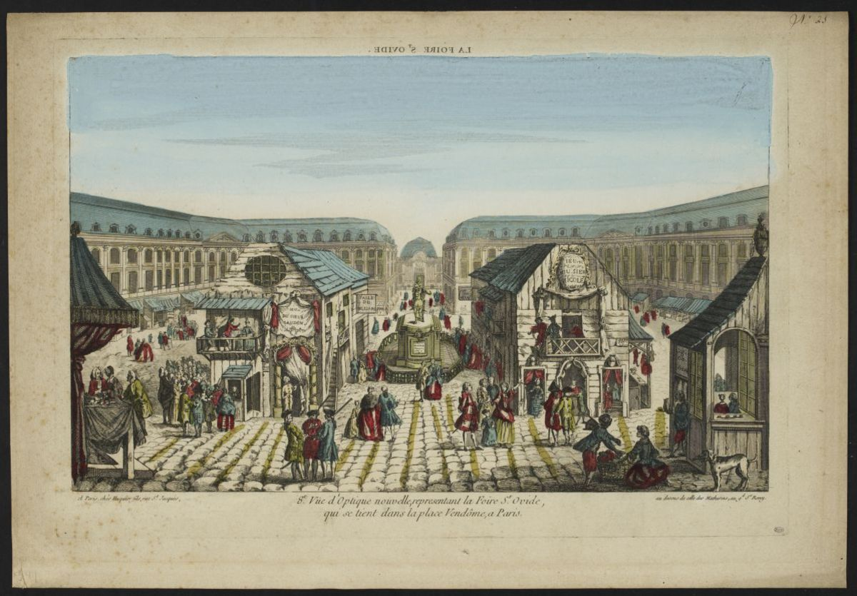 8e vue d'optique nouvelle représentant la foire St Ovide qui se tient dans la place Vendôme à Paris Estampe