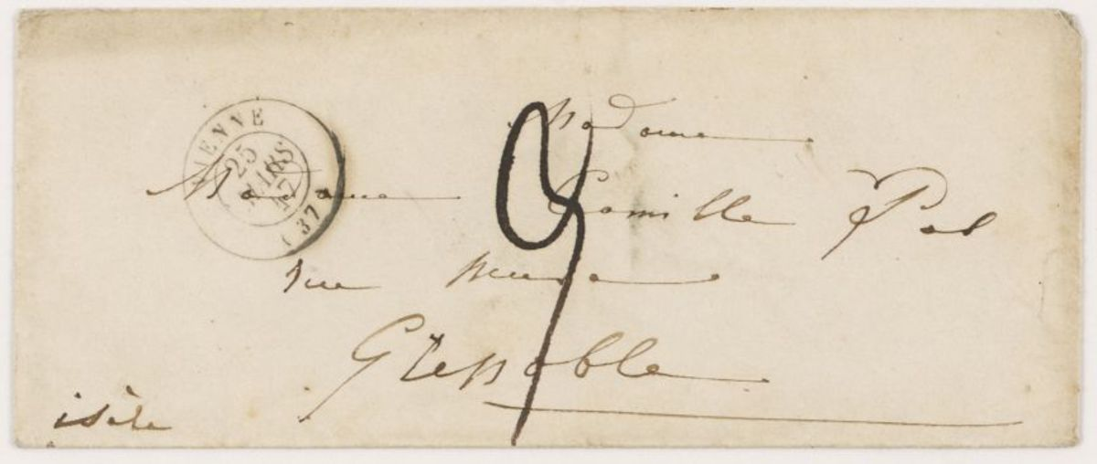 Enveloppe d'une lettre d'Adèle Suat Berlioz à Nanci Pal Berlioz Manuscrit 1847