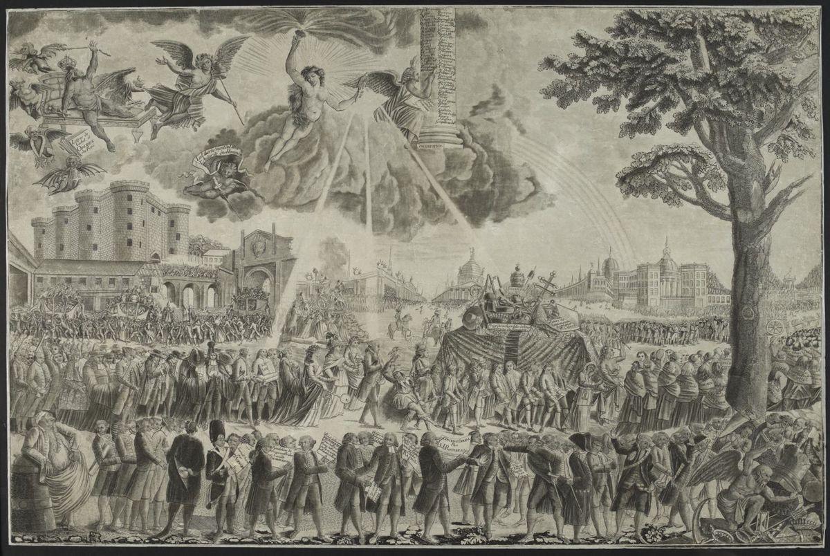 Le Convoi des Abus. La Révolution Française. Estampe