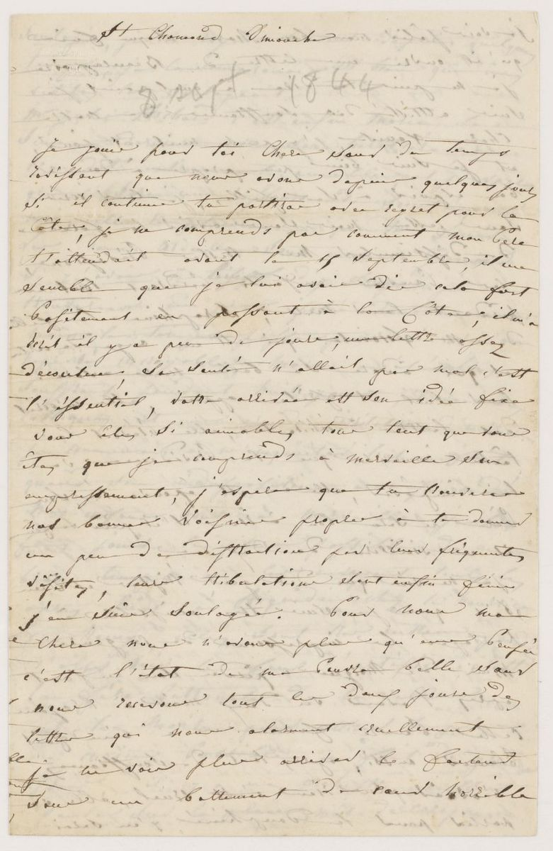 Lettre d'Adèle Suat Berlioz à Nanci Pal Berlioz Manuscrit 1844