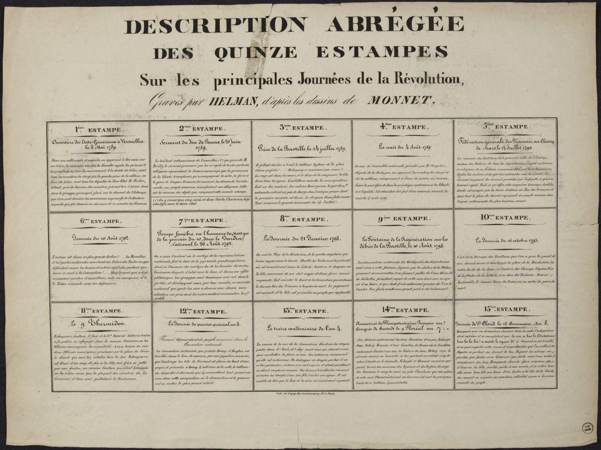 Description abrégée des douze estampes sur les principales journées de la Révolution gravés par Helman d'après les dessins de Monnet Estampe