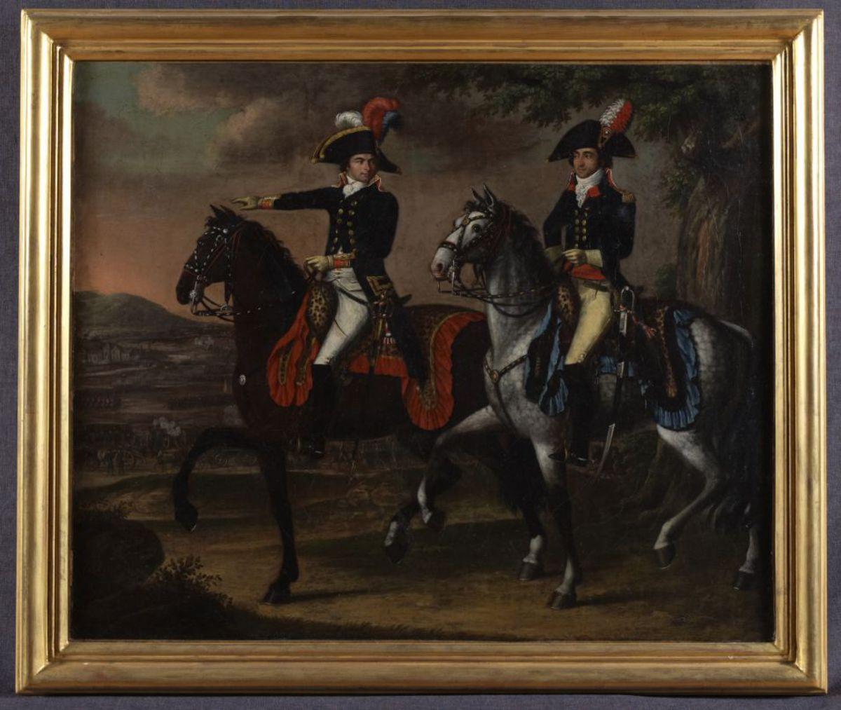Portrait équestre du général Jourdan et d'un de ses aides de camps Peinture