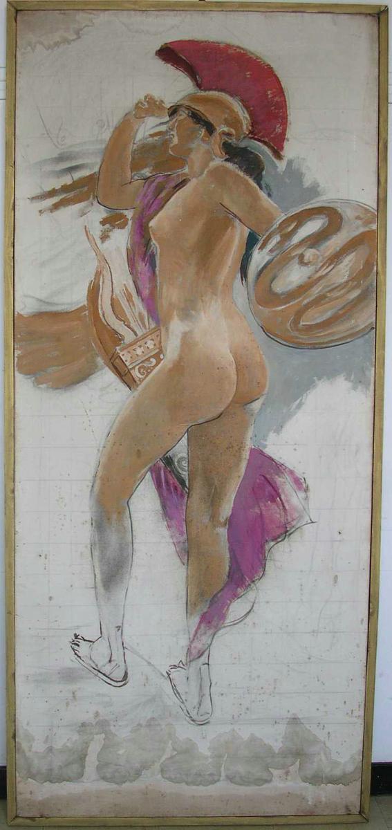 Femme nue guerrière Peinture