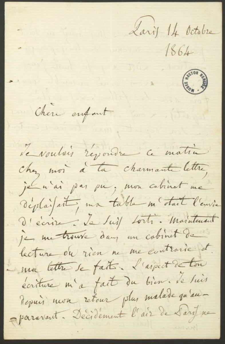Lettre d'Hector Berlioz à sa nièce (Joséphine ou Nancy Suat) Manuscrit 1864