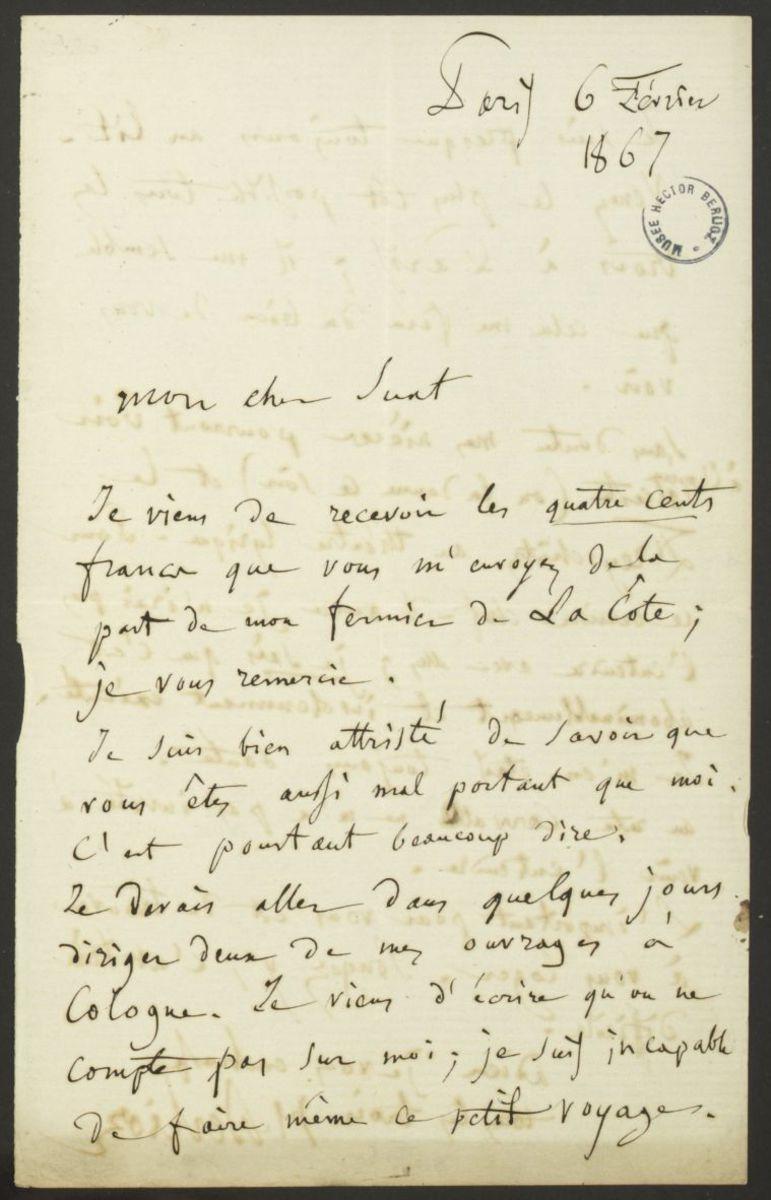 Lettre d'Hector Berlioz à Marc Suat Manuscrit 1867