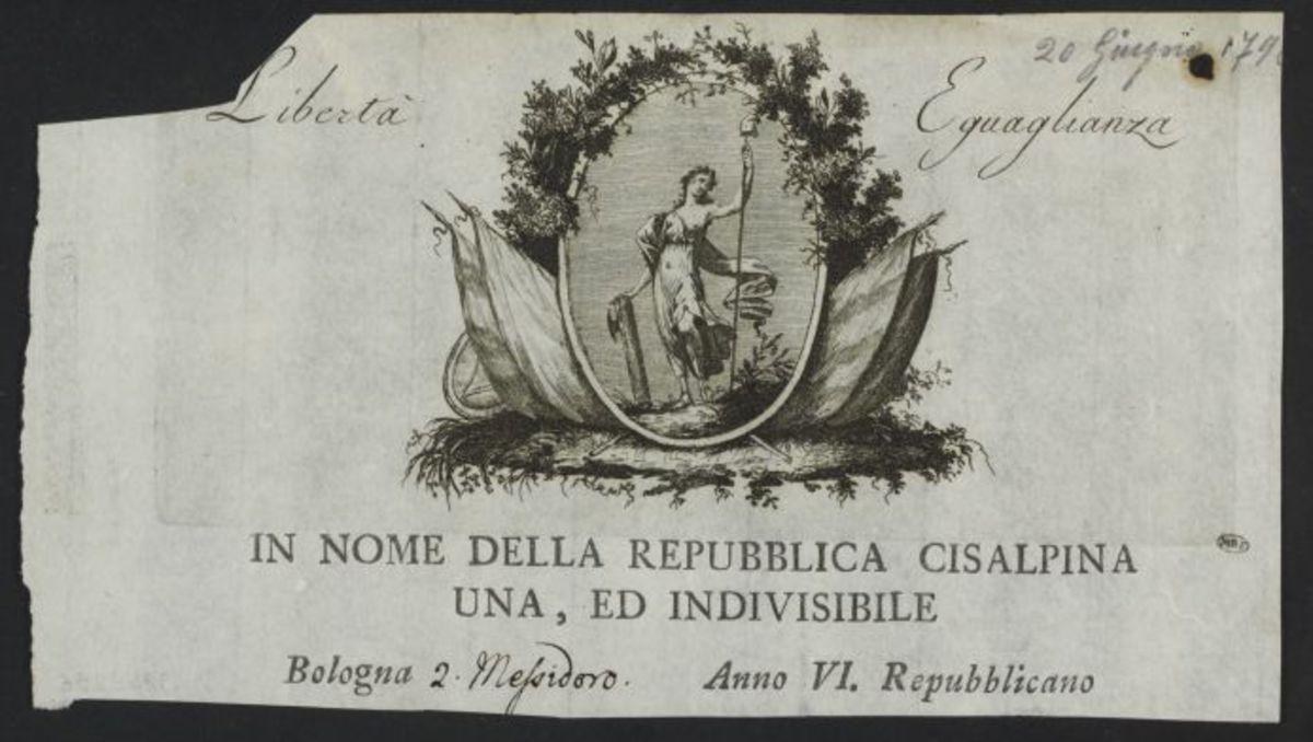 En-tête de lettre de la Repubblica Cisalpina, Bologna, 2 Messidor an 6 Estampe