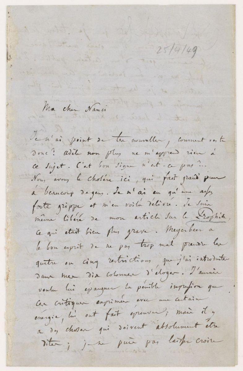 Lettre d'Hector Berlioz à Nanci Pal Berlioz Manuscrit 1849
