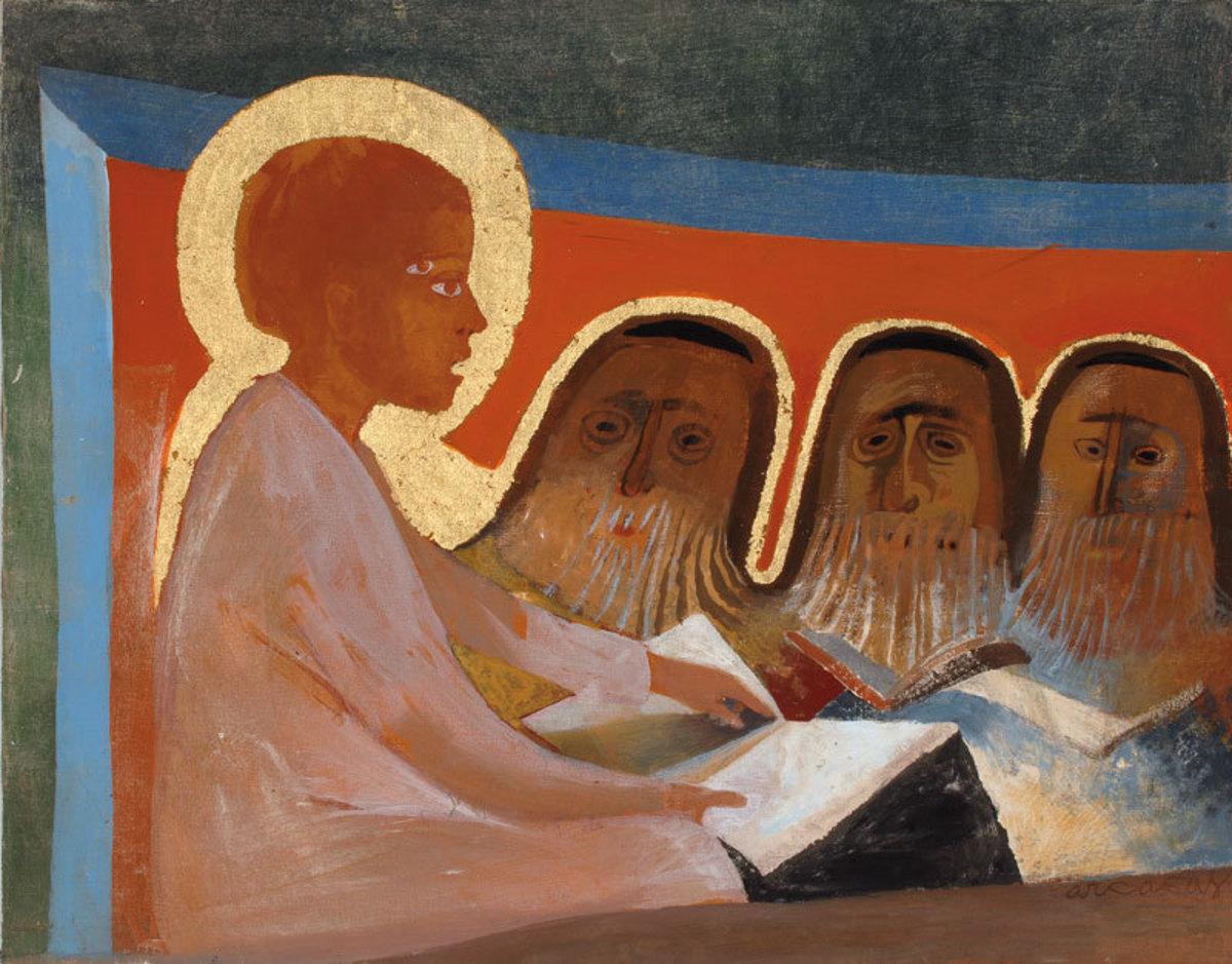 Recouvrement de Jésus au temple Peinture 1986
