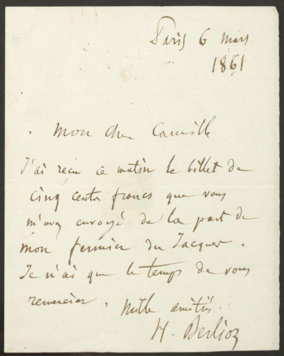 Lettre d'Hector Berlioz à Camille Pal Manuscrit 1861