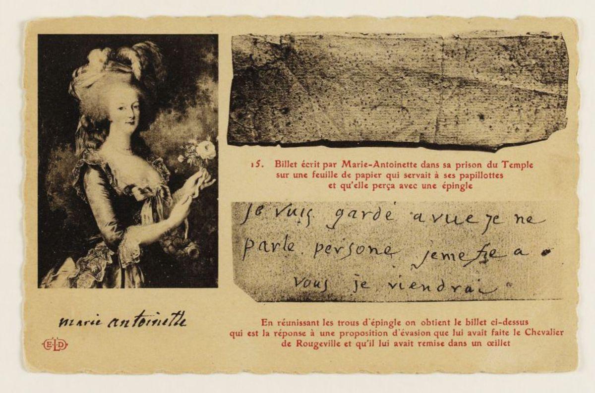 Billet écrit par Marie-Antoinette dans sa prison du Temple sur une feuille de papier qui servait à ses papillotes et qu'elle perça avec une épingle Carte postale