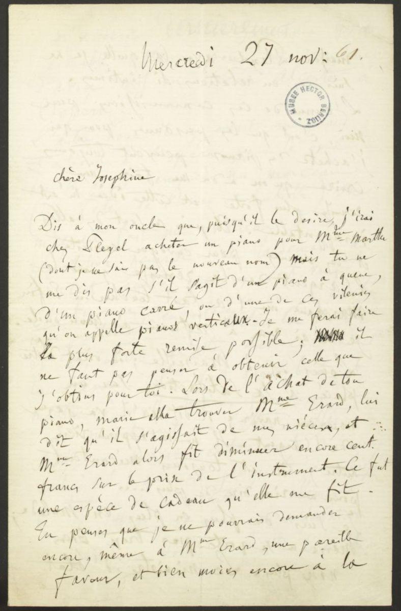 Lettre d'Hector Berlioz à Joséphine Suat Manuscrit 1861