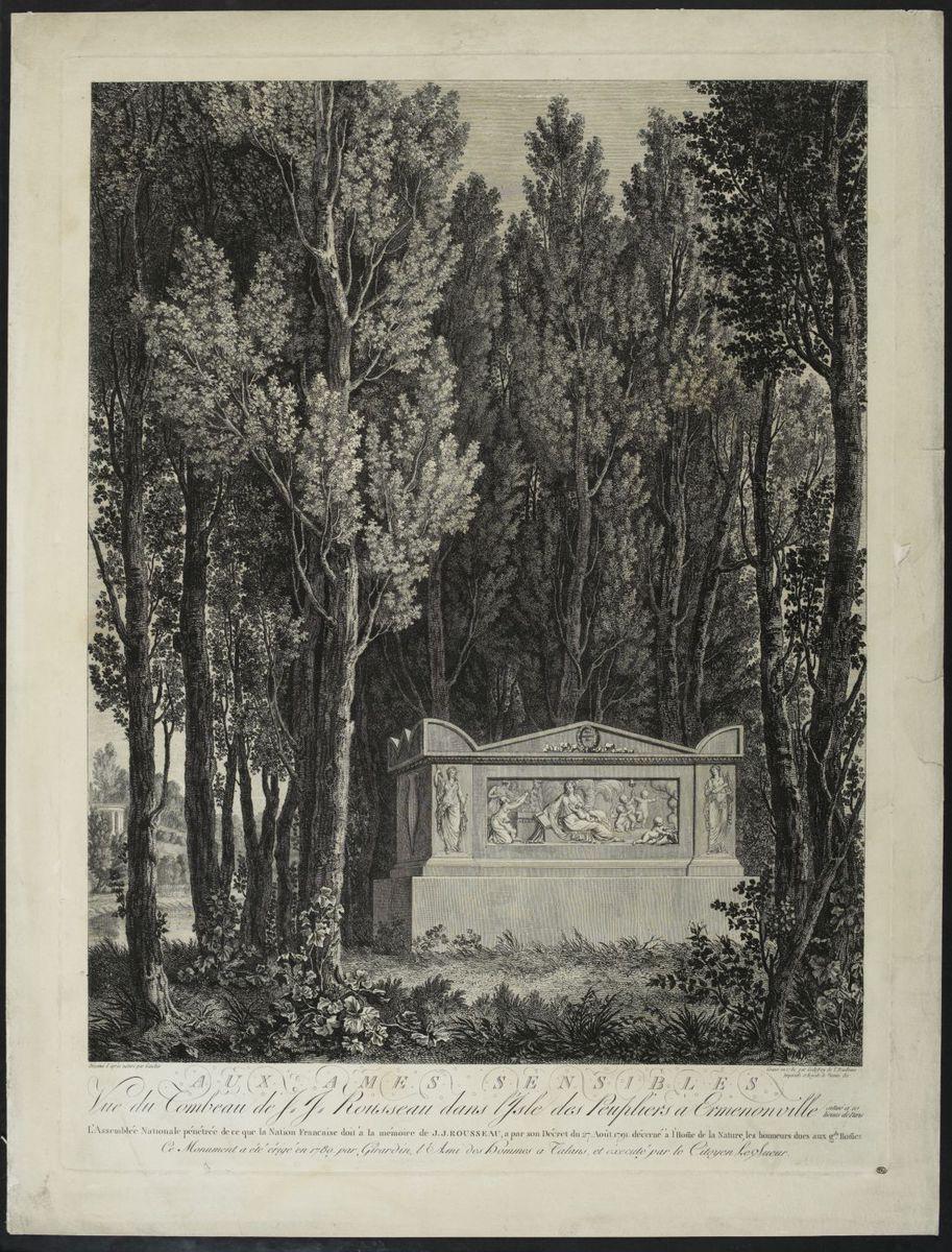 Aux âmes sensibles, vue du tombeau de J.J.Rousseau dans l'Isle des Peupliers à Ermenonville Arts graphiques