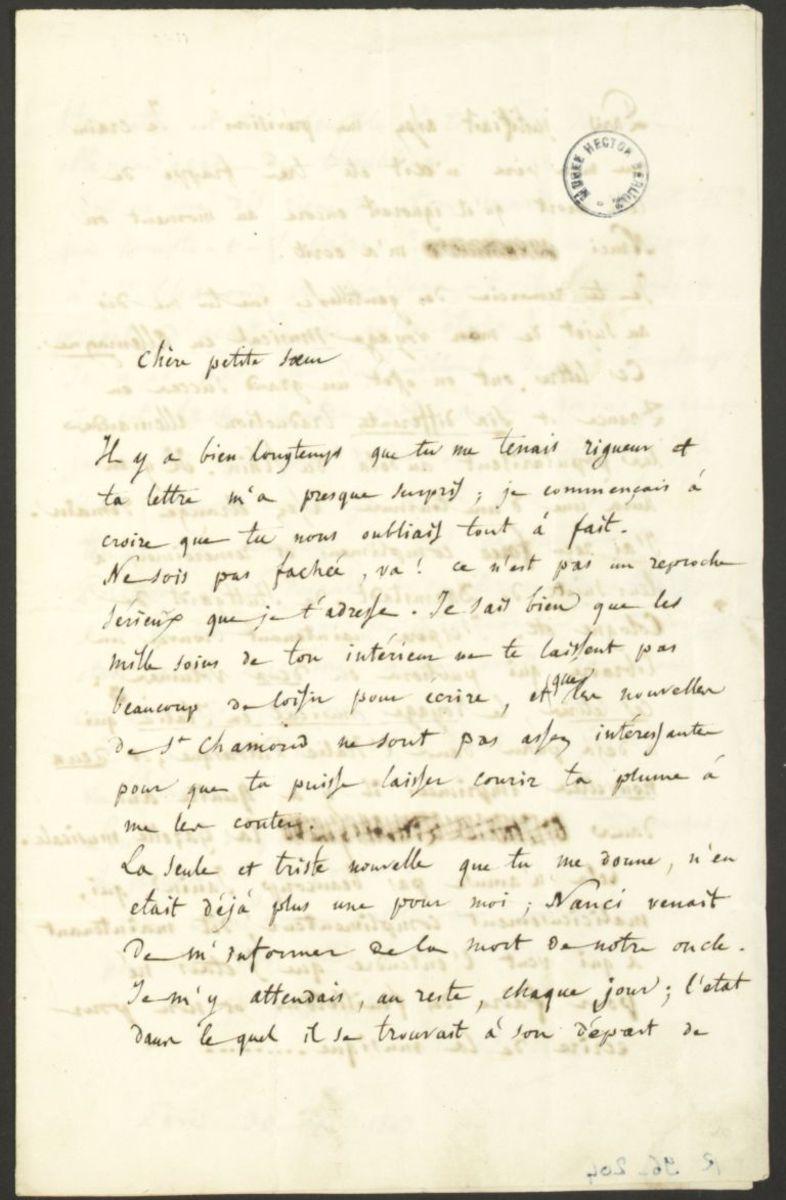 Lettre d'Hector Berlioz à Adèle Suat Berlioz Manuscrit 1843