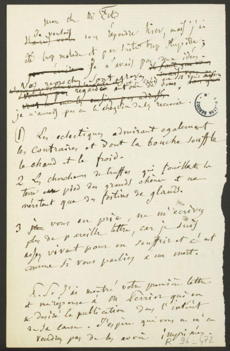 Lettre d'Hector Berlioz à François-Joseph Fétis Manuscrit Sans date