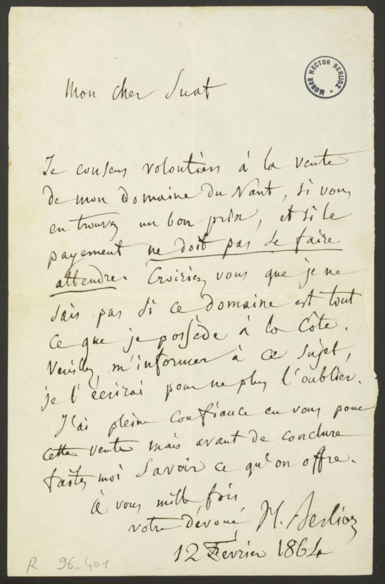 Lettre d'Hector Berlioz à Marc Suat Manuscrit 1864