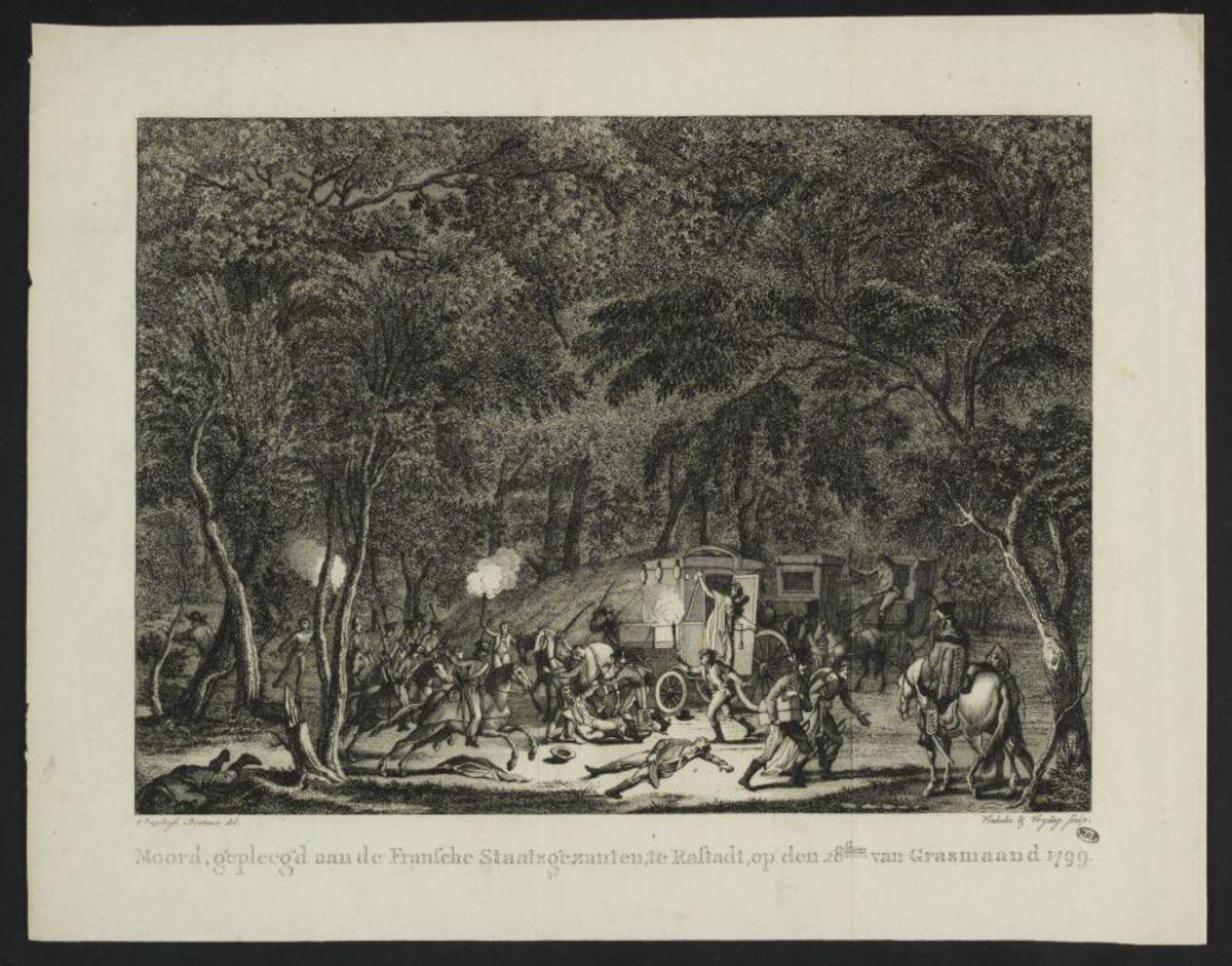 Moord, gepleegd van de Fransche Staatsgezanten, te Raftadt, op den 28ften van Grasmaand 1799 Estampe