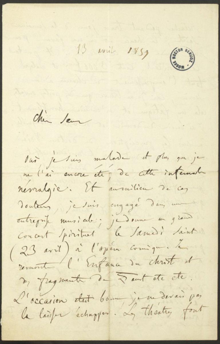 Lettre d'Hector Berlioz à Adèle Suat Berlioz Manuscrit 1859