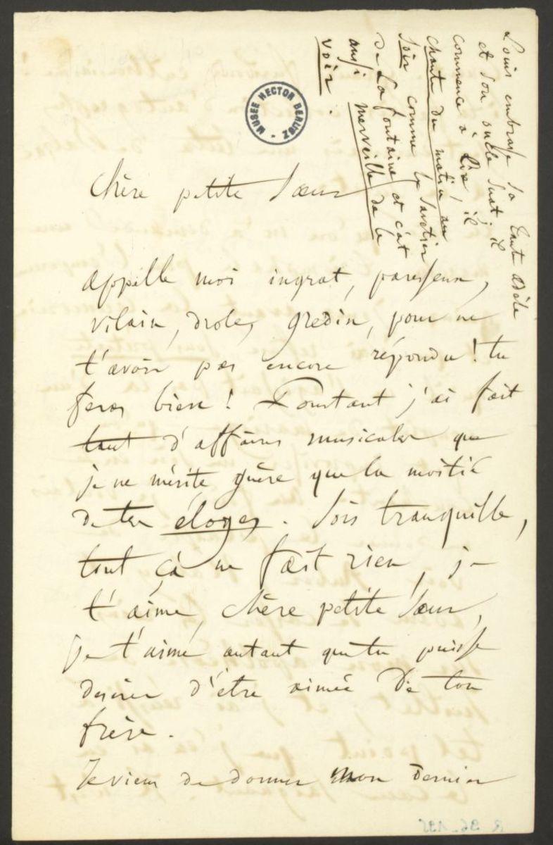 Lettre d'Hector Berlioz à Adèle Suat Berlioz Manuscrit 1840