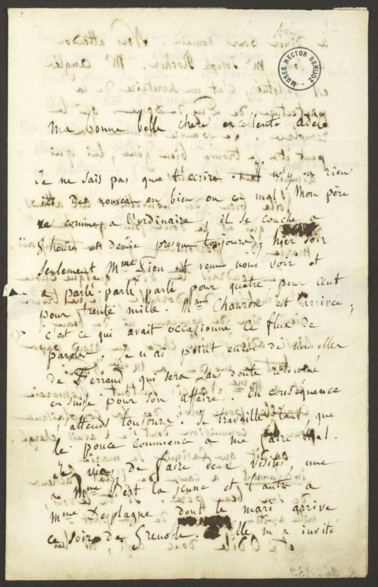 Lettre d'Hector Berlioz à Adèle Suat Berlioz Manuscrit 1832