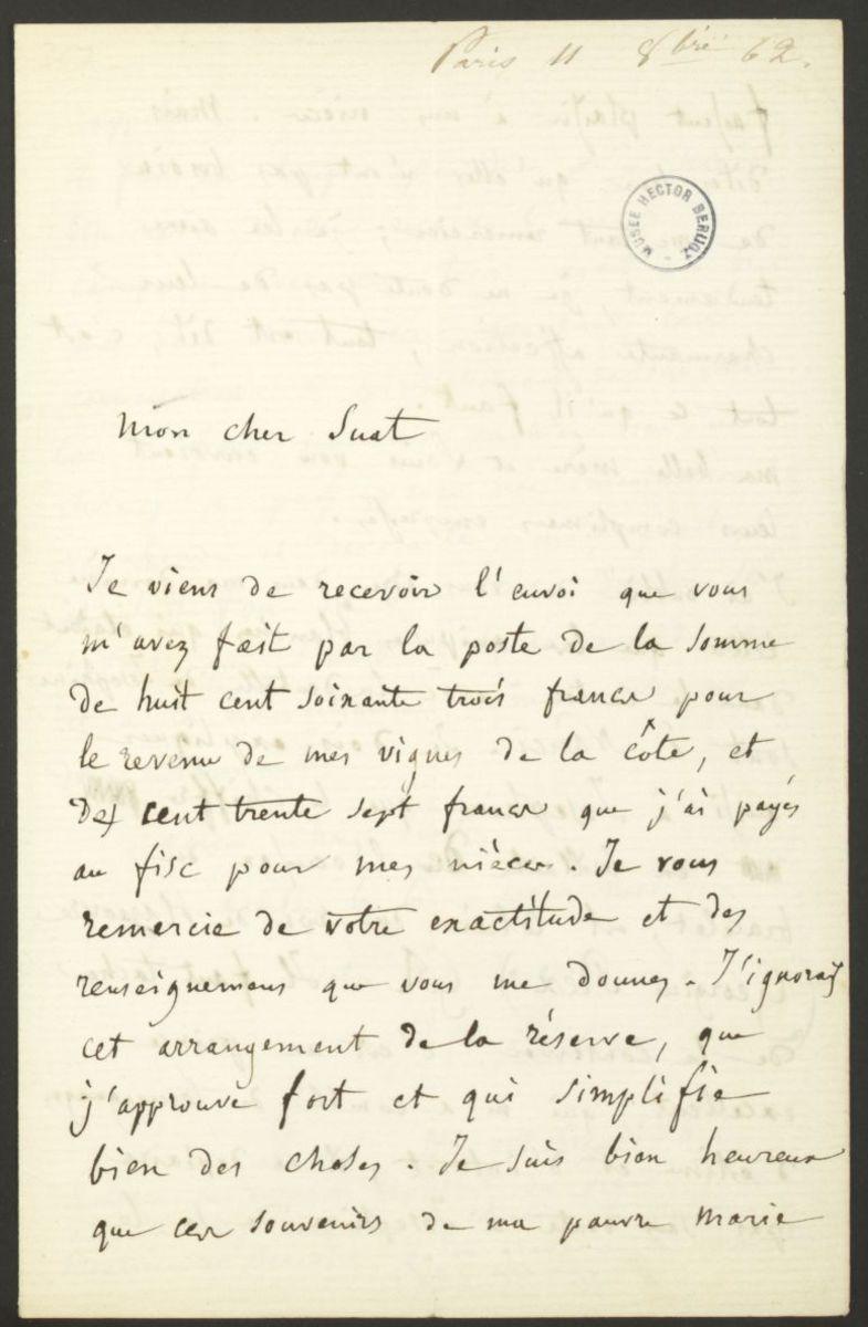 Lettre d'Hector Berlioz à Marc Suat Manuscrit 1862
